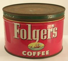 Vintage Folger's Coffee Tin Empty with Fantastic Graphics Folgers Coffee, Coffee Tin, Vintage Tins, Vintage Coffee, P&g Products, Dollhouse Miniatures, Empty, Pots, Enamel