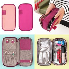 Cosmetics compartment has pockets for brushes, foundation, lipstick, face wash, and any other cosmetic or toiletry. - Color : Peach pink, Hot pink. - Organize jewelry and cosmetics together all in one place in the double-sided Travel Pouch.