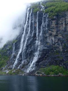 Waterfall, Norway, Scandinavia, Fjord, Geirangerfjord