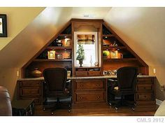 "Nice ""his"" and ""hers"" desk unit in bonus room.--I love this idea depending on your walls??"
