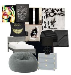 """""""An Emo Kid's (me) Bedroom"""" by frerard-wayiero ❤ liked on Polyvore featuring interior, interiors, interior design, home, home decor, interior decorating, Eclipse, Masquerade, PBteen and Bungalow 5"""