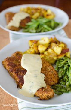 Pork Schnitzel with Creamy Parsley Sauce | Slimming Eats - Slimming World Recipes