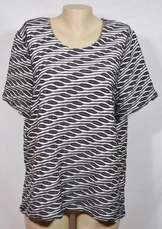 CJ BANKS Black Beige Gray Textured Patterned Top 1X Short Sleeves Unlined  #CJBanks #Top #Casual