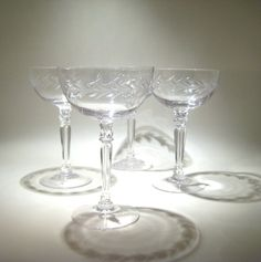 4 Vintage Champagne Saucers by HazelRoberts on Etsy, $40.00