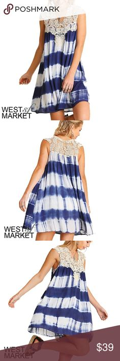 -NEW ARRIVAL-  Tie Dye For Dress Sleeves dress with lace shoulder and neckline. Blue tie-dye print. West Market SF Dresses