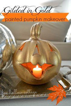 Gold Metallic Painted Pumpkin Makeover - #gold #gilded #fall #halloween #pumpkin