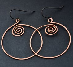 Celtic Wire Earrings Copper Jewelry Handmade by GueGueCreations, $19.00