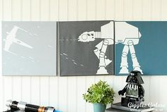 Looking for a fun DIY Star Wars Idea to make? Check out this list of DIY Star Wars home decor projects. Metal Tree Wall Art, Mirror Wall Art, Star Wars Room, Star Wars Art, Diy Canvas Art, Canvas Wall Art, Painted Canvas, Star Wars Bathroom, Bathroom Signs