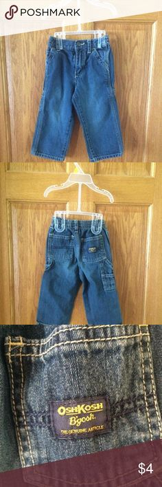 OshKosh B'Gosh Baby Boy Jeans Cute baby boy jeans by OshKosh B'Gosh. Excellent condition - free of stains or tears m. Smoke FREE home as always! Size 24M. 💚💙❤️    ⭐️ITEMS UNDER $5 DO NOT QUALIFY FOR BUNDLE DISCOUNT⭐️ Osh Kosh B'Gosh Shirts & Tops