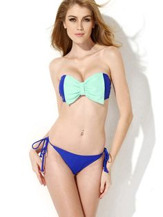 cce54fc1ab Multicolor Bikini Bow Lace Up Synthetic Swimsuit for Women