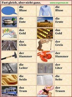 L E A R N G E R M A N: German Vocabulary - Fast gleich, aber nicht ganz 3