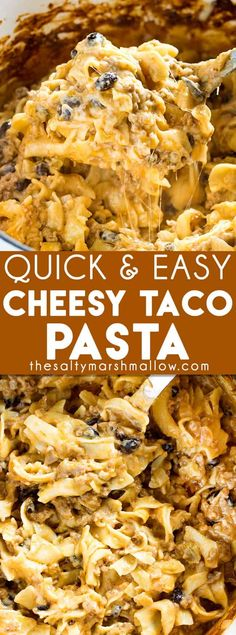 A quick and easy dinner recipe for cheesy taco pasta bake that's full of ground beef, cheese, and black beans! This comfort food casserole is a dinner the whole family will love, it tastes so much better than hamburger helper! My family Casserole Recipes, Pasta Recipes, Beef Recipes, Cooking Recipes, Pasta Casserole, Game Recipes, Quick Recipes, Casserole Dishes, Seafood Recipes