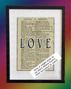 Icelandic Word Art LOVE  to  FRAME on Vintage by ArtToArt on Etsy,