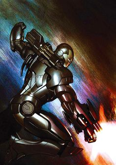 War Machine by Adi Granov. Adi Granov is my favorite Iron Man illustrator and one of my favorite illustrators overall. Comic Book Characters, Marvel Characters, Comic Character, Comic Books Art, Comic Art, Book Art, Marvel Comics, Marvel Heroes, Marvel Dc
