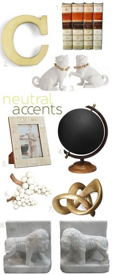 decorating a bookcase with neutral home accessories...