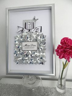 Perfume bottles in silver glitter and metallic 3d butterflies - You choose which one, two or 3 you would like I made this as a custom order for someone, update, now many times! and I think they turned out so well, that I would list them You may buy one, or two or all 3 bottles. If