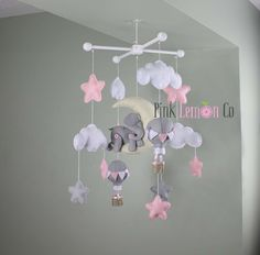 Baby Mobile-Elephant and Hot Air Balloons Baby by PinkLemonCo