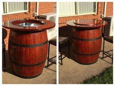 How to Make a Wine Barrel Table With Built in Wine Bucket