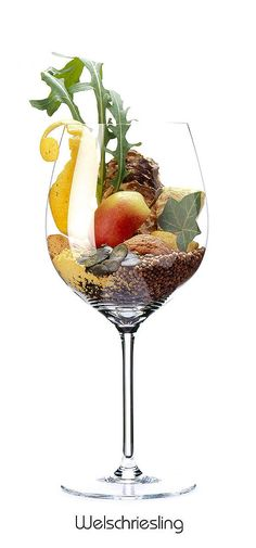 WELSCHRIESLING Apple, lemon (peel), almond, pumpkin (core), arugula, celery (tuber), coriander, mustard, walnut, oyster shell (dried) Synonyms include: Riesling Italico, Grasevina, Grassica, Laski Rizling, Banat Riesling, Olaszrizling, Riesler, Vojvodina, Wälschriesling, Welschrizling, Welsch Rizling, Borba. Notorious for its neutrality, it makes light, uninteresting white wines with high acidity. It shines in the area of Neusiedlersee in SE Austria as sweet & textured Trockenbeerenauslese.