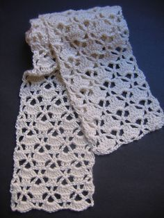 Lacy Cream Scarf Crochet Pattern by RaggedyAnns on Etsy