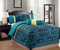 Modern 7 Piece Bedding Blue  Black  Yellow Bold Motif QUEEN Comforter Set with accent pillows ** Read more reviews of the product by visiting the link on the image.