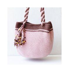 Pink and brown boho purse spring crochet bag crochet by zolayka