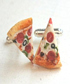 pizza cuff links/ tie tacks