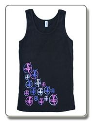 BodyHoops Fitness Tank    Soft sexy cotton tank with fun new bodyhoops fitness logo diagonally across the right front.  Hoopers on front are in bright pink, purple and white.  Classic BodyHoops logo across the center back.  Comes in small, medium and large.