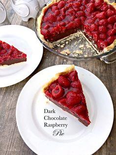 1 cooked pie crust 1-10 pkg. dark chocolate chips 1-8 oz. pkg. cream cheese; softened ¾ cup sugar 1-18 oz. pkg. fresh raspberries 1-3 oz. pkg. raspberry jello 1 cup water 1 tbsp. cornstarch Click H...
