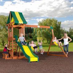 Playset Ideas Backyard log cabin playhouse Backyard Discovery Weston Cedar Swing Set Something Like This For When Sophie Gets Bigger