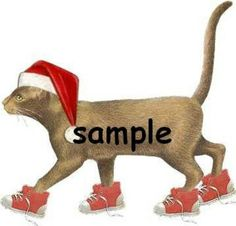 Christmas cat  with red sneakers holiday Custom Personalized Address Labels
