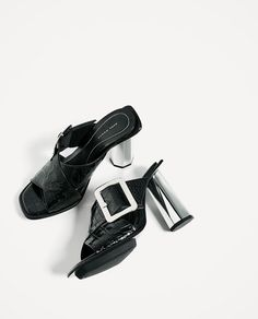 Image 7 of EMBOSSED LEATHER HIGH HEEL MULES from Zara