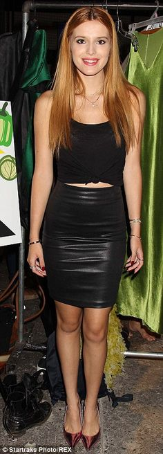 Bella Thorne slipped into a black leather high-waisted skirt and black singlet top paired with rose gold metallic pumps for the Project Subway Challenging Emerging Designers event http://dailym.ai/1txMCzW #NYFW