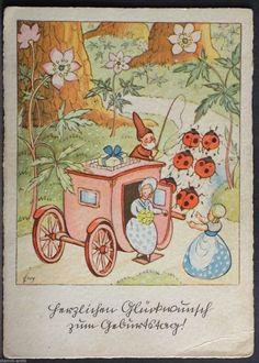 Ernst Fay Künstler Ak,signiert,Marienkäfer ziehen Kutsche,Kutscher Zwerg | eBay