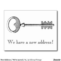 New Address / We've moved / vintage key Postcard
