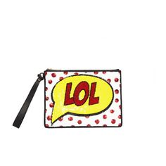 Alice + Olivia Lol Medium Zip Pouch With Wristlet ($295) ❤ liked on Polyvore featuring bags, handbags, clutches, multi, print purse, white wristlet purse, polka dot handbags, print handbags and pattern purse