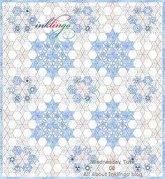 Inklingo Pieced Hexagons Setting - Print the shapes on fabric and sew by hand with a running stitch (not English Paper Piecing).