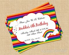 Printable Custom Party Invitations Personalized Rainbow Party. $12.00, via Etsy.
