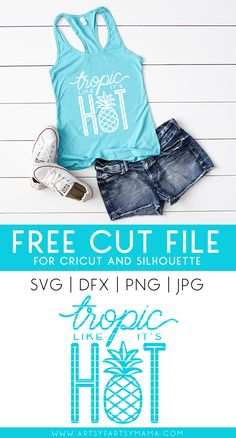 Tropic Like Its Hot Shirt with 14 Free Beachy Cut Files - Vinyl Shirt - Ideas of Vinyl Shirt - Tropic Like Its Hot Shirt with 14 Free Beachy Cut Files Cricut Tutorials, Cricut Ideas, Scan And Cut, Vinyl Shirts, Silhouette Machine, Silhouette Cameo Projects, Vinyl Cutting, Cricut Creations, Svg Files For Cricut