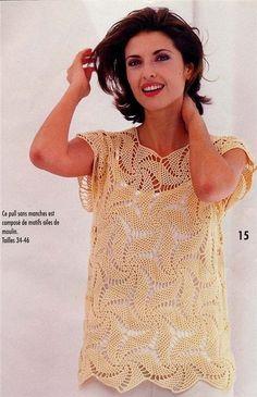 crochelinhasagulhas: Blusa amarela em crochê