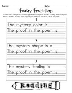 Wonderful poem activity, where students have to guess what the poem is describing and state their proof.