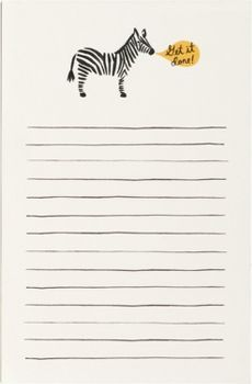 Get it done with this adorably illustrated notepad. Features a cute zebra graphic and lined sheets for writing your notes and to dos. 85 sheets<br /><br />Size - 4 1/4 x 6 1/2