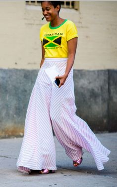 Stripes are in for Spring. Try them on flowy, wide-leg pants.