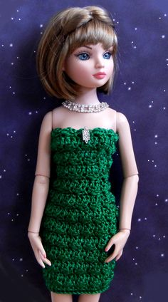 "crochet pattern - cocktail dress made with silk yarn - fits Ellowyne and other 16"" dolls - for sale on Etsy"