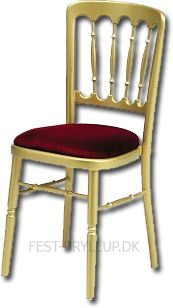 Gold chairs with red seats.