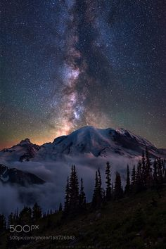 Rainier Milky Way. The Milky Way core centers above Mt. Rainier (as seen from above Sunrise) after a very foggy start to the night. I was very close to Abstract Photography, Landscape Photography, Nature Photography, Night Photography, Landscape Photos, Travel Photography, Starry Night Sky, Night Skies, Night Night
