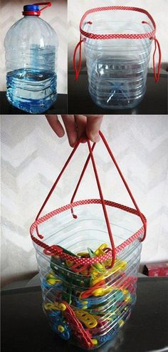 Clothespin basket made from a water bottle.