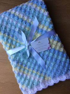 Handmade crochet baby boy blanket-perfect gift idea, blanket to fit cot or buggy. Baby Boy Crochet Blanket, Baby Boy Blankets, Crochet Baby Hats, Crochet For Kids, Crochet Gifts, Baby Boy Gifts, Gifts For Boys, Crochet Amigurumi Free Patterns, Crochet Stitches