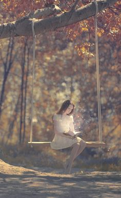 magic | books | fairy tale | forest | swing | daydream | lost | mystical | fairy | tree | autumn | photography