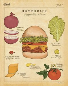 Inspired by botanical prints, this fauxtanical highlights the important biological features of that holiest of late-night noshes: the hamburger. Illustrations and text by Bambi Edlund. Museum-quality